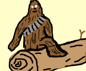 Chewbacca stepping over a log.