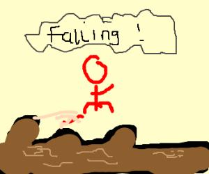 Chewbacca climbing over a fallen log