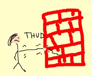 Guy punches brick wall