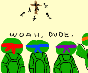 The TMNT's watch Jesus get Crucified.