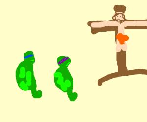 Ninja turtles amased at jesus cruxifict
