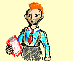 ginger mohawk manager with clipboard
