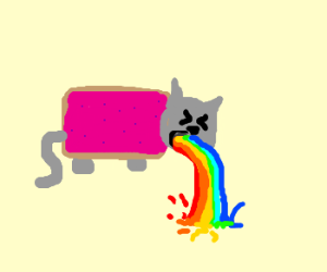 Nyan cat throws up a rainbow