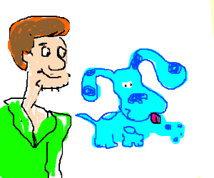 Shaggy finds clues with Blue