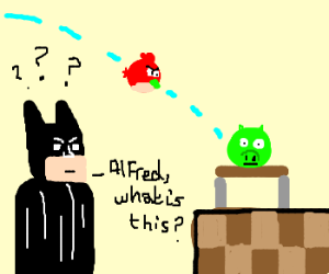 Bat-nerd-boy confused by angry birds
