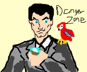 Sterling Archer drinks with a parrot.