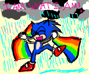 Proud, gay, Sonic dancing in rain