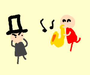 Hatted man annoyed by sax player