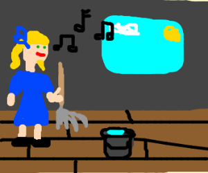 Bearded Blond Lady Sings while Cleaning