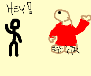 """Guy says """"Hey!"""" to penis in red sweater"""