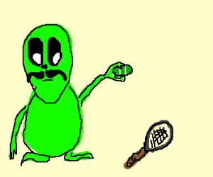 Handlebar alien squeezes tennisball flat