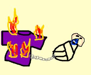 Burning purple shirt attached to newborn