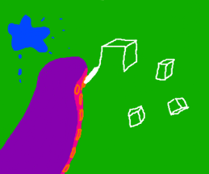 purple octopus drawing cubes
