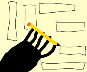 Black hand drawing rectangles.