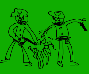 The green police hold jellyfish hostage
