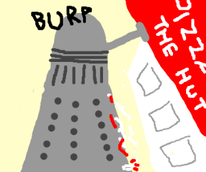 A Dalek eats Pizza the Hutt