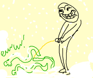 Man pees on snow covered snakes