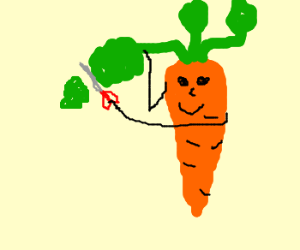 Carrot cuts itself with scissors