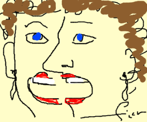 abstract art of girl with a wide mouth