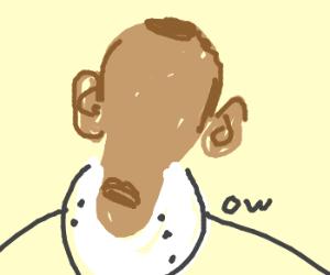 Faceless Obama in a neck brace