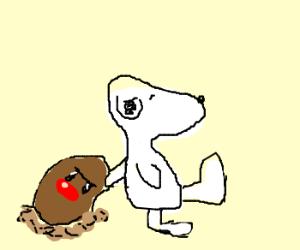 Snoopy carries Diglett around