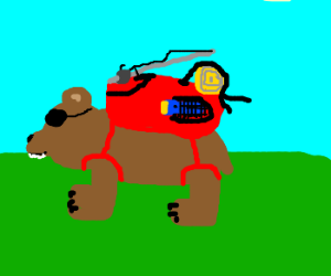 flaming bear with eyepatch goes on trip