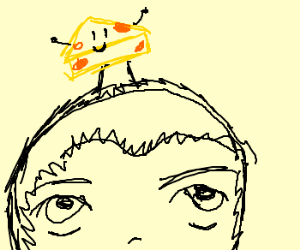 Mr. Cheese is dancing on a mans head
