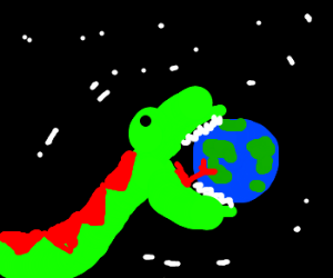 Giant green space snake eats the world