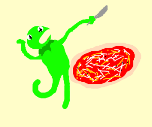 Smelly Kermit stabs pizza