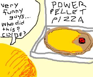 Pacman eats a pizza