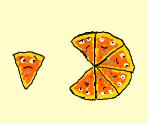 pizza slice separated from his friends