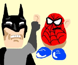 Batman pulling spuderman's ear off.