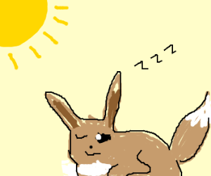 Eevee nearly gets up in the morning