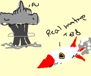 Explosion flips off nuke