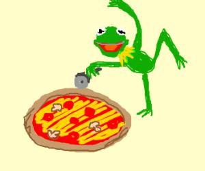 Kermit's interpretive dance to cut pizza
