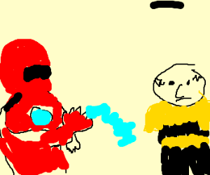 Iron man about to hadouken charlie brown