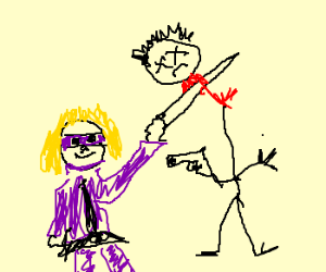 Purple Girl From Kick Ass cuts head off