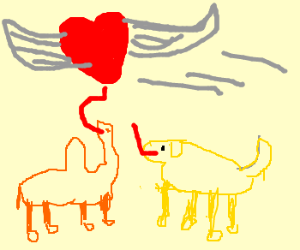 Camel and dog try to lick a flying heart
