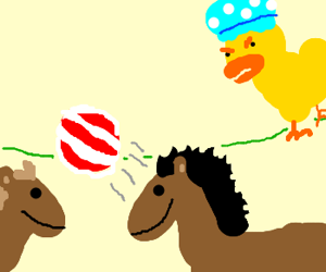 Duck w/shower cap watching horses play