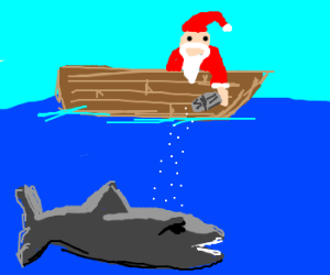 Santa putting salt on sharks in the sea.