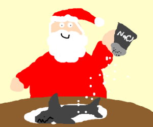 Santa Claus salting a shark