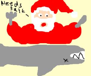 Santa salts shark on dinner plate.