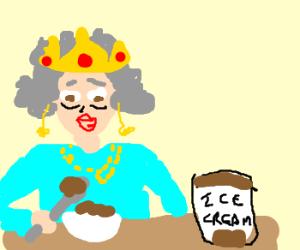 The Queen eats chocolate ice cream