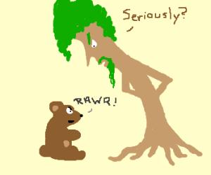 Bear cub threatens Ent