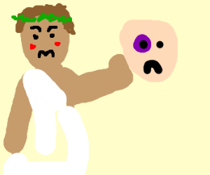 Angry toga'd Greek messes up guy's face
