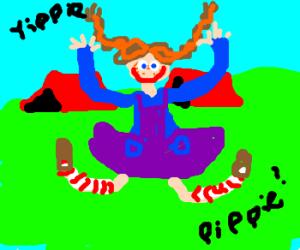 Pippie Longstocking is a happy camper