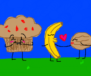 muffin wants banana and walnut to kiss