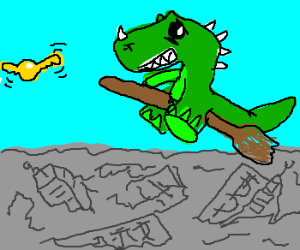 Godzilla plays Quiddich over Tokyo ruins