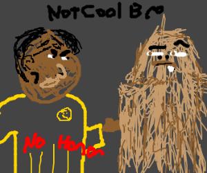 Worf tells Chewie no honor, Chewie mad