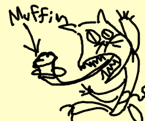 Muffin feeding cat.
